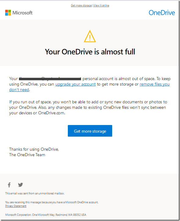 onedrive is almost ful-kl